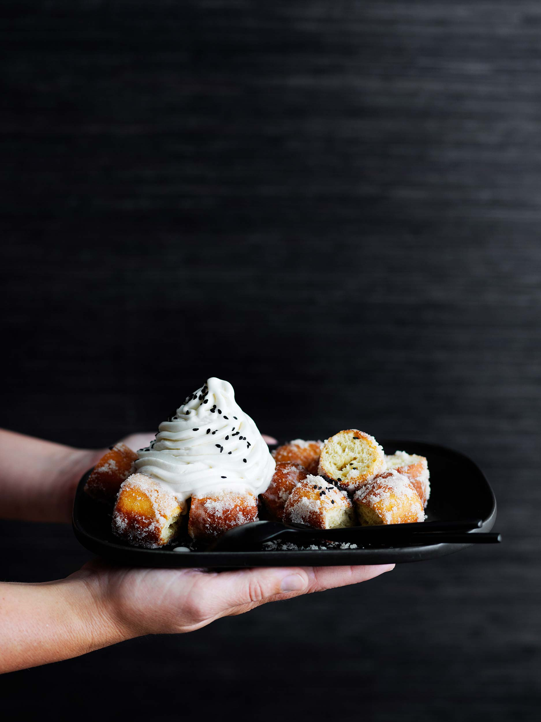 Tofu-doughnuts-serve-with-soy-milk-soft-serve